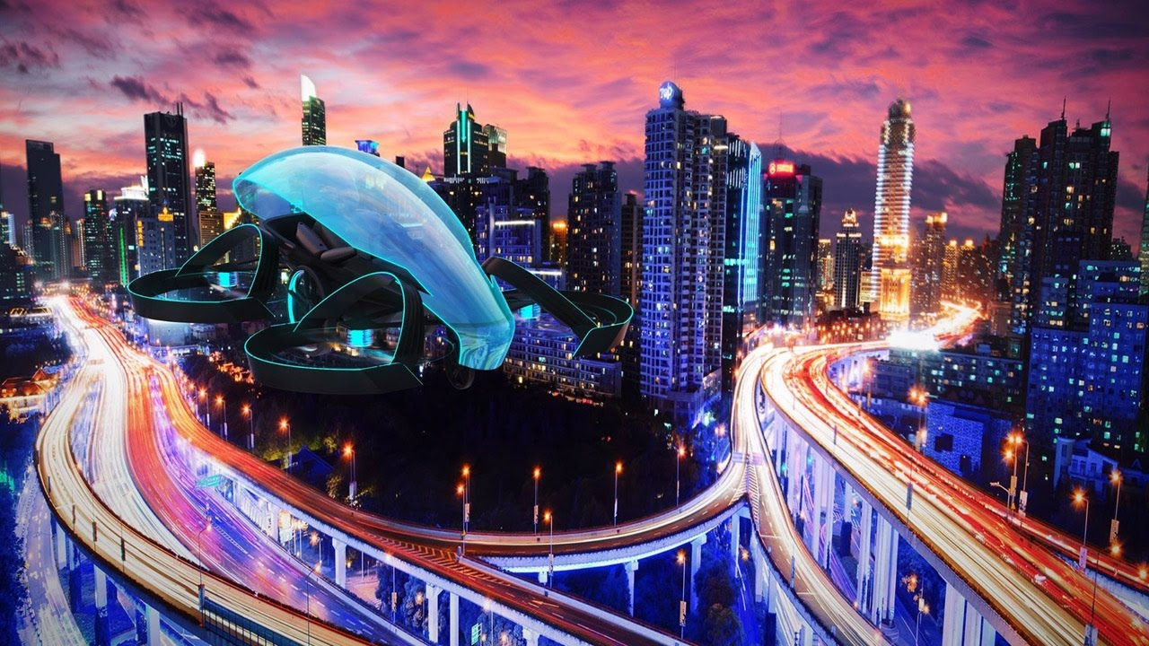 flying taxi in a city of the future