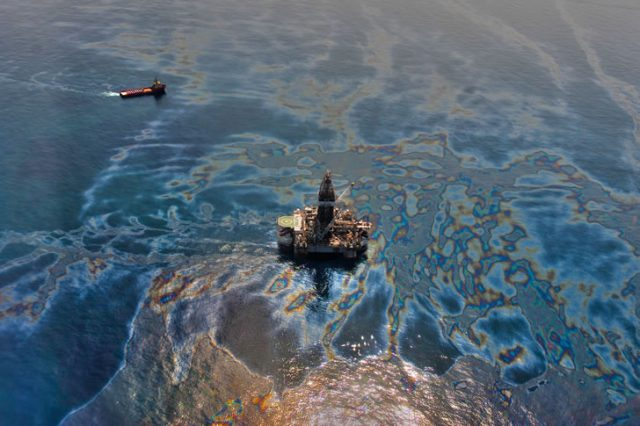 oil spill from deepwater drilling exploiting natural resources and adding high pollution risk to the ecosystem